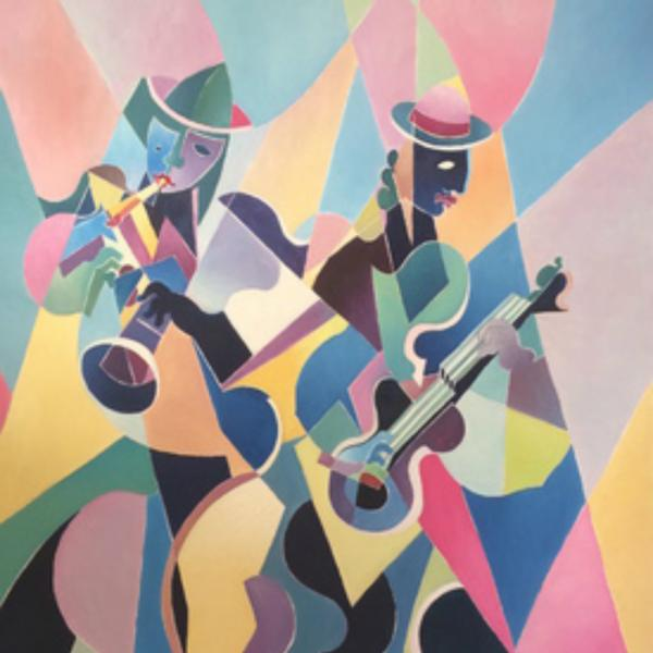 Michel Moreno Artiste peintre syntho-chromisme The trumpet player elovart Samantha Salloum