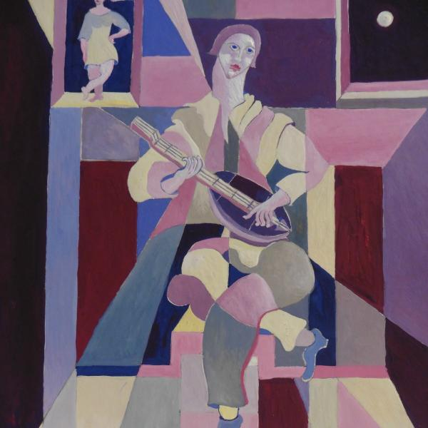 Michel Moreno Artiste peintre Pierrot in the moonlight Samantha Salloum elovart